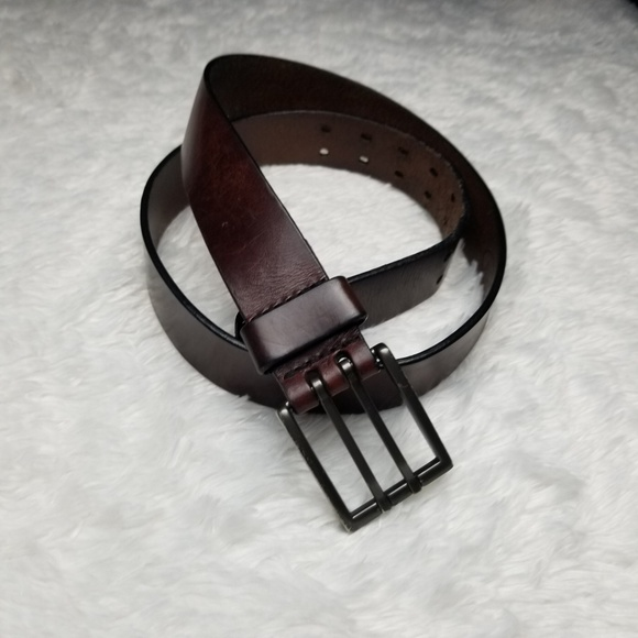 Brave Other - Brave Brown Italian Leather Double Hole Belt 32
